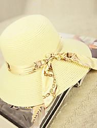 Women's Fashion Straw Hat Sun Hat Wide Brim Hat/Cap Cute Casual Print Bowknot Beach Summer Khaki/White/Navy Blue/Fuchsia/Pink