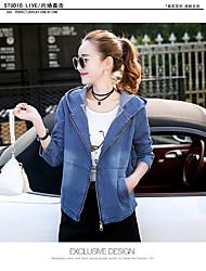 Women's Casual/Daily Simple Spring Denim Jacket,Solid Hooded Long Sleeve Short Cowhide