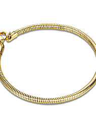 Consise 18K Yellow Gold Plated 4mm Wide Snake Chain & Link Bracelets Christmas Gifts Jewellery for Women Accessiories