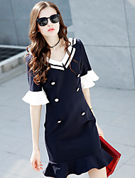 Model real shot 2017 spring new star with the European leg Slim was thin navy wind dress