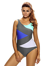 Women's Sporty Look Sexy Color Block Front Lace up One Piece Swimsuit