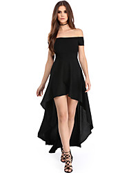 Women's High Low Hem Off Shoulder Party Dress