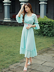 Autumn new retro chiffon embroidered dress lady Slim flounced skirts put on a large long
