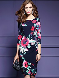 Women's Casual/Daily Simple A Line Dress,Floral Round Neck Knee-length ¾ Sleeve Silk All Seasons High Rise Inelastic Thin
