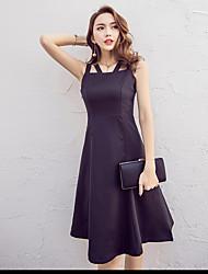 Sinal cintura pouco vestido preto hepburn vento fino cintura halter vestido sem mangas e seções longas