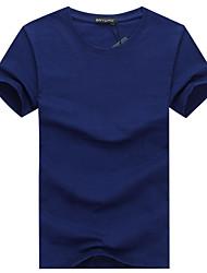 Tee-shirt Homme,Couleur Pleine Décontracté / Quotidien Grandes Tailles simple Eté Manches Courtes Col Arrondi Coton Moyen
