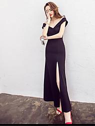 Signe 2017 été nouvelle femme slim collier avant fente robe jupe robe petite robe noire