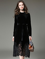 Women's Velvet|Lace spring velvet lace stitching long-sleeved dress Slim ladies skirt
