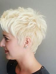 Diy-Wig Short Fluffy Hair Off-white Straight hair Human Hair Capless Wigs Charming lady