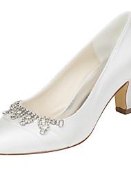 Damen-High Heels-Hochzeit Kleid Party & Festivität-Stretch - Satin-Blockabsatz-Club-Schuhe-Elfenbein