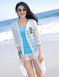 nueva primavera y el verano la playa capa de la ropa de protección solar de la manga chal chaqueta de punto larga de la camisa delgada de