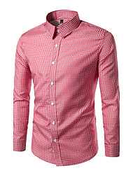Men's Casual/Daily Simple All Seasons Shirt,Check Classic Collar Long Sleeve Cotton Polyester Medium