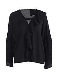 Women's Ruffle Casual/Daily Simple Spring Shirt,Solid V Neck Long Sleeve White Black Cotton Medium