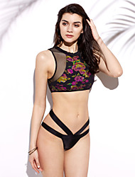 Mulheres Tanquini Cores Contraste/Malha Nadador Push-Up Linha Entrelaçada/Modal Mulheres