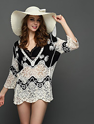 New women sexy deep V-neck patch shading sunscreen Ms. Slim fifth sleeve dress holiday