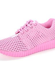 sneakers verão solas leves conforto queda das mulheres tule ocasional lace-up