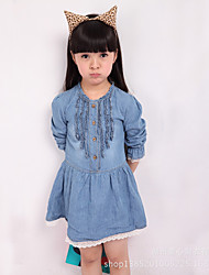 Girl's Holiday Solid Dress,Others Spring Long Sleeve