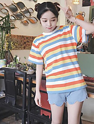 Real shot was thin spring new loose cotton short-sleeved T-shirt rainbow stripes shirt female students