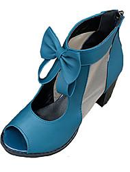 Women's Sandals Comfort PU Spring Summer Casual Comfort Bowknot Chunky Heel Block Heel Black Blue 3in-3 3/4in