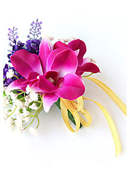 Wedding Flowers Free-form Lilies Lavenders Boutonnieres Wedding Party/ Evening Purple Satin