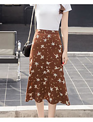 Damen Hohe Hüfthöhe Ausgehen Über dem Knie Röcke Schaukel Blumen Sommer