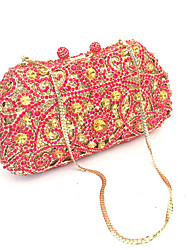 Women Red Rhinestone Crystals Beaded Event Clutches Evening Bags
