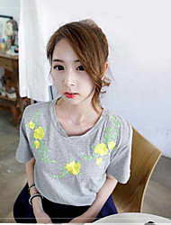 Korea spring and summer fashion wild flower embroidery bead sleeve T-shirt tee women