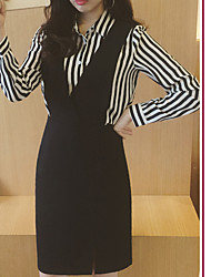 Model real shot in spring 2017 new striped zipper dress skirt piece fitted female fashion # 1615