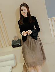 Sign 2017 Spring Women Korean horn sleeve velvet long-sleeved solid color beaded long-sleeved shirt