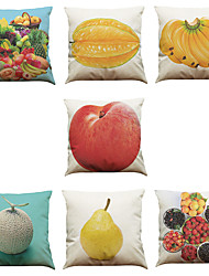Set of 7 Fruit Pattern Linen  Cushion Cover Home Office Sofa Square  Pillow Case Decorative Cushion Covers Pillowcases As a Gift