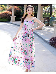 Women's Going out Beach A Line Chiffon Dress,Solid Floral Strap Maxi ½ Length Sleeve Cotton Acrylic Polyester Summer Mid Rise