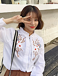 Sign 2017 Spring Korean women re-craft shirt embroidered flowers
