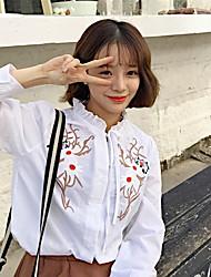 assinar 2017 flores da primavera coreano mulheres camisa re-craft bordados