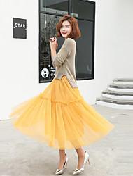 2017 vestido novo primavera na saia tutu gaze slim princesa cintura saias das mulheres
