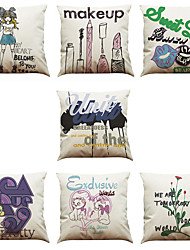 Set of 7 Creative Printing Pattern Linen  Cushion Cover Home Office Sofa Square  Pillow Case Decorative Cushion Covers Pillowcases As a Gift