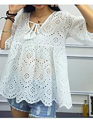 la nouvelle chemise en dentelle couverture col rond manches ajourées de corne de tempérament doux d'été shan texture
