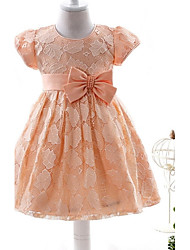 Ball Gown Short / Mini Flower Girl Dress - Organza Short Sleeve Jewel with Bow(s) Lace