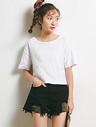 Spot modelo real tiro verão 2017 versão coreana de uma cor sólida em torno do pescoço de manga curta t-shirt de moda bottoming