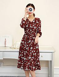 Sign new 2017 plus velvet long-sleeved floral chiffon shirt Slim thin skirt bottoming skirt female