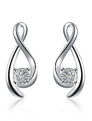 Concise Silver Plated Clear Crystal 8 Style Stud Earrings for Wedding Party Women Jewelry Accessiories