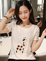 Clearance verão real verão 2017 algodão de bambu bordado cervos sen linha feminina openwork laço manga t-shirt camisa