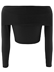 Damen Solide Einfach Ausgehen T-shirt,Bateau Langarm Polyester