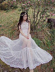 perspectiva sinal de posicionamento sereia vestido de renda branca bordada magro modelos peça