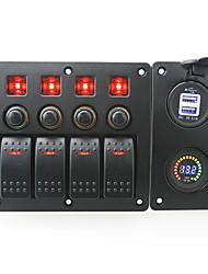 rouge iztoss conduit CC12V 4 bande interrupteur marche-arrêt panneau incurvé bascule et coupe-circuit avec des étiquettes autocollantes et