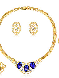 Women's Jewelry Set Costume Jewelry Fashion Classic Rhinestone Gold Plated Glass Alloy Jewelry 1 Necklace 1 Pair of Earrings 1 Bracelet 1