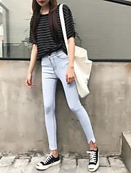 Sign pantyhose colored stretch jeans feet pencil pants female