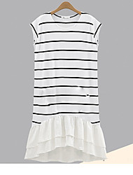 Women's Casual/Daily T Shirt Dress,Striped Round Neck Knee-length Sleeveless Cotton Spring Low Rise Micro-elastic Thin