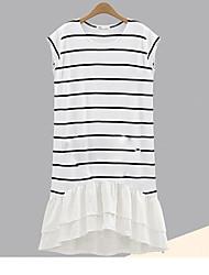 Tee Shirt Robe Femme Décontracté / QuotidienRayé Col Arrondi Mi-long Sans Manches Coton Printemps Taille Basse Micro-élastique Fin