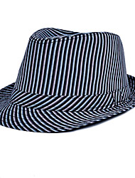 Men Linen Jazz Striped printing Small Hat Beach Flat Top Shade Hat