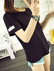 Sign 2017 Summer Korean BF wind cuff simple letter T-shirt female lovers class service